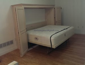 Maple queen size Murphy bed, horizontal orientation, bed down view