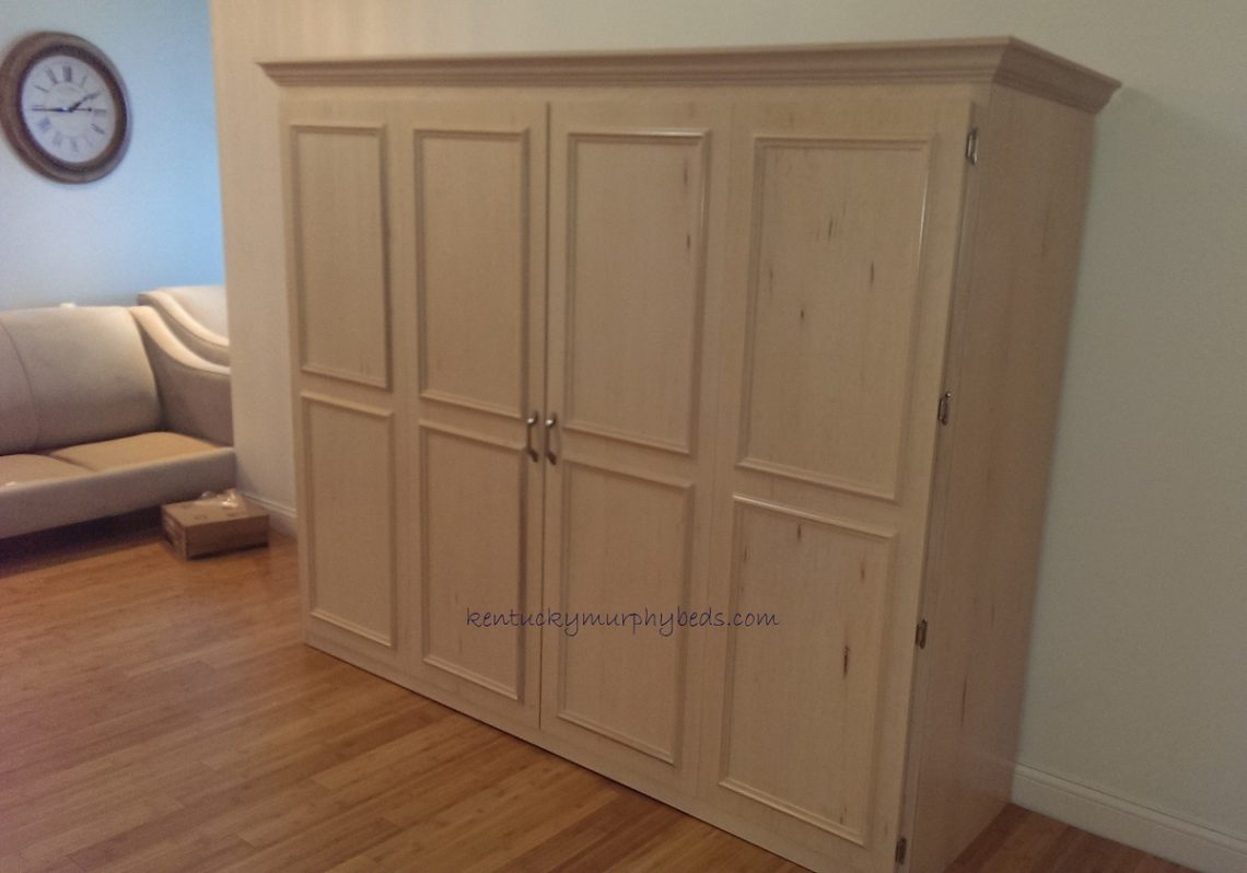 maple queen size murphy bed, horizontal
