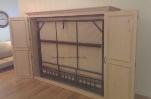 Maple queen size Murphy bed horizontal orientation, doors open