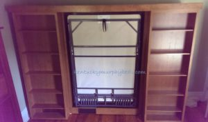 cherry full size murphy bed with bookcase doors and accessory bookcases doors open