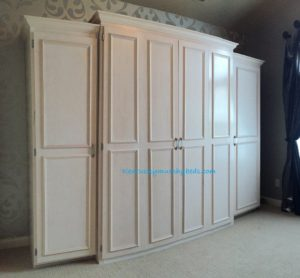Maple queen size Murphy bed with accessory cabinets