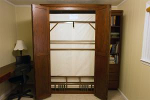 full size oak bifold door Muphy bed with EZ Rest bed frame - doors open