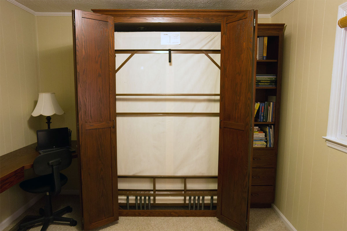 Kentucky Home Office Murphy bed cabinet open