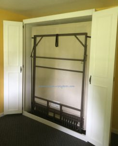 white queen size painted oak plywood bed, doors open ready to pull down