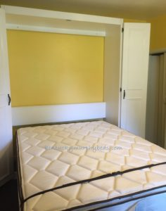 white queen size painted oak plywood bed in open position