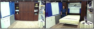 Louisville Home Show, queen size cherry Murphy bed with accessory cabinets and bookcases