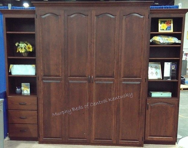 Cherry queen size Murphy bed with accessory cabinets