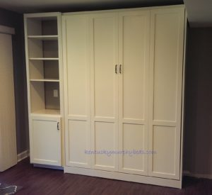 White painted panel door Murphy bed with one accessory bookshelf-cabinet, closed view, new design; holidays