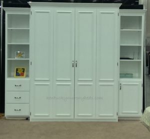 white painted maple queen size Murphy bed with two accessory cabinets; show bed for immediate delivery