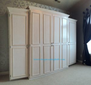 Maple queen size Murphy bed with accessory  cabinets - special white pickled finish