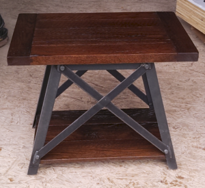 Montana style oak and metal table; amish crafted tables