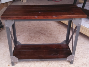 Wyoming style table of oak and metal; amish crafted tables