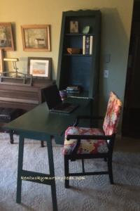 Accessory furniture - green Murphy desk unit - open