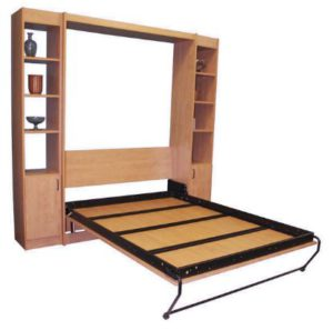 Alpha Bed Frame - open panel door in a Murphy Bed cabinet