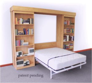 Next Bed Frame system- open in a bed cabinet with sliding bookcase doors