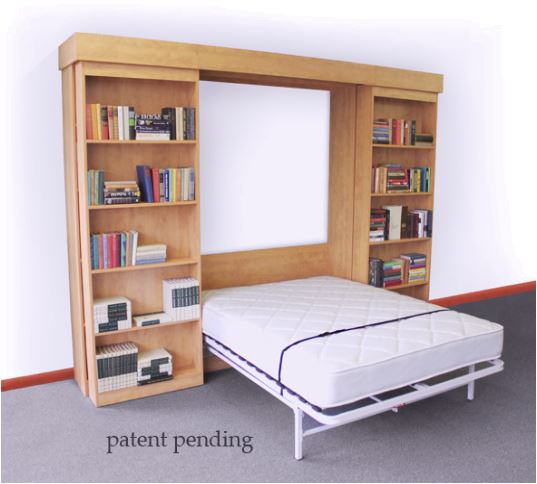 Next Bed Murphy Bed Frame system- open in a bed cabinet with sliding bookcase doors for use in Murphy bed cabinet