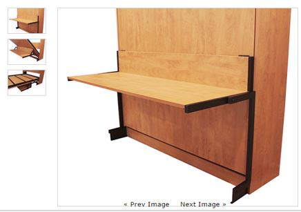 studio desk attachment on a panel Murphy bed