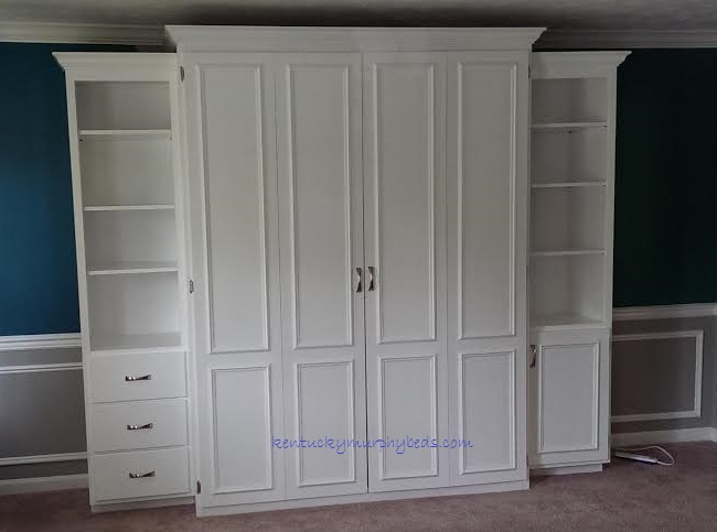 White painted maple queen Murphy bed with bifold doors and two accessory cabinets - closed, 2017 Home Show Murphy bed