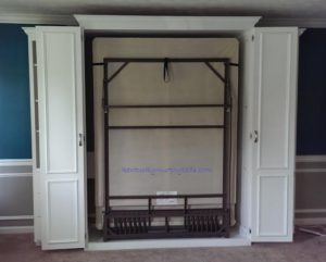 White painted maple queen Murphy bed with bifold doors and two accessory cabinets - doors open 2017 Home Show bed