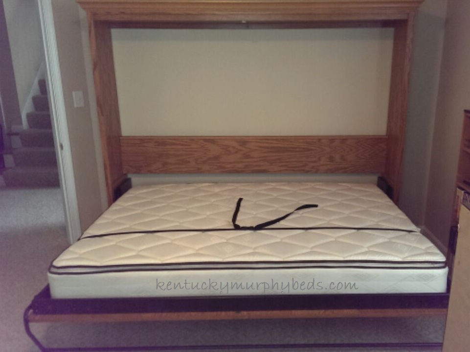 Oak queen size panel Murphy bed - open view