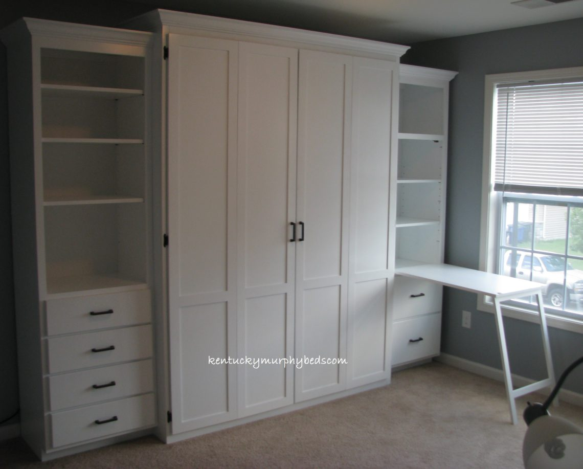 Queen size bifold door Murphy bed with side cabinet Murphy desk, shown open, and additional book case, 2 file drawers in desk.