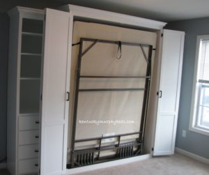 Queen size bifold door Murphy bed with side cabinet Murphy desk and additional book case, bed doors open