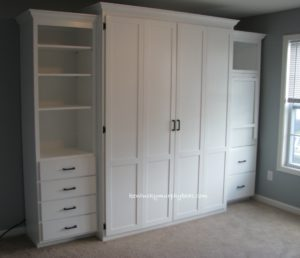 Queen size bifold door Murphy bed with side cabinet Murphy desk shown closed and additional book case, MDF, painted white, home office
