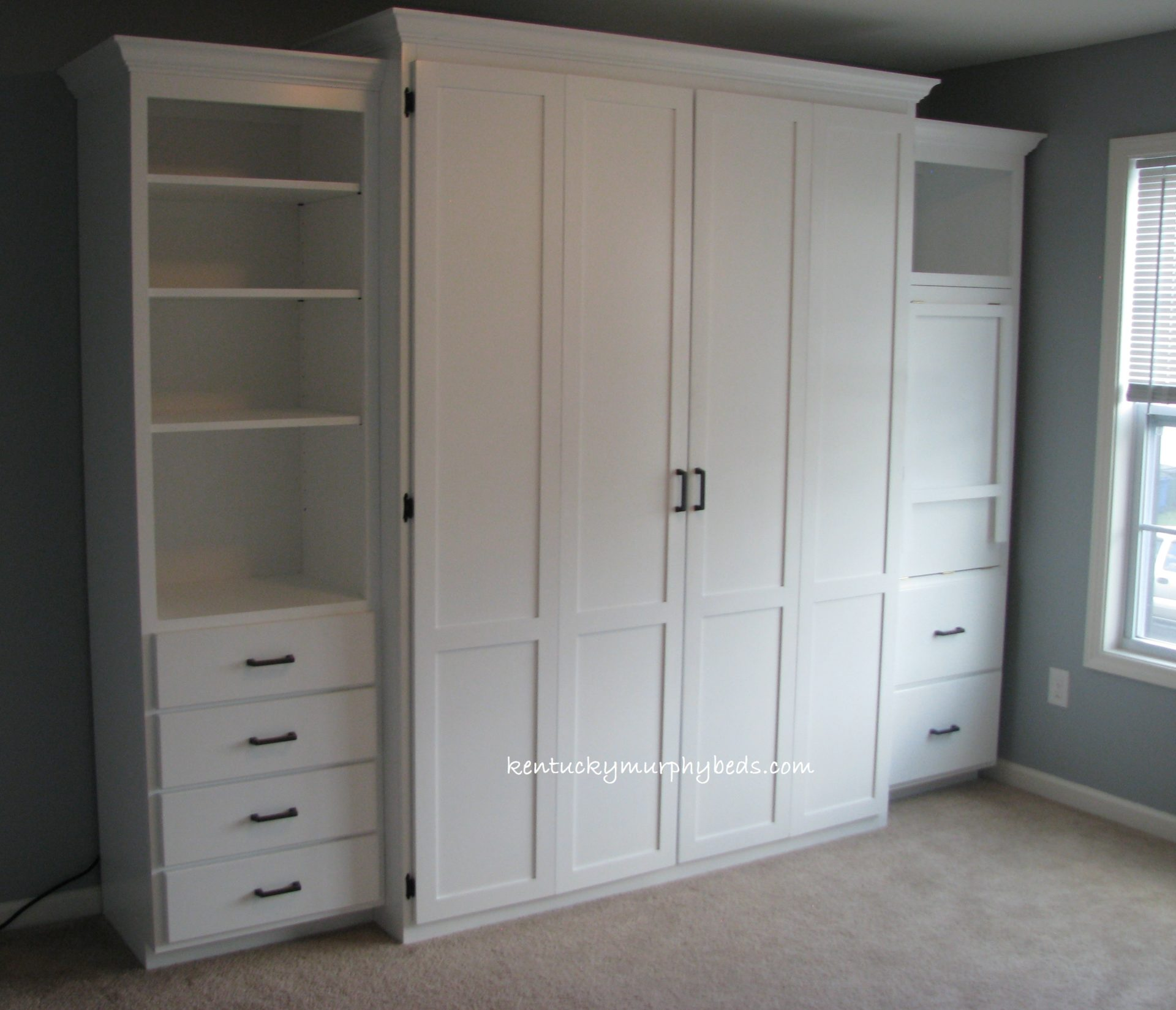 Queen size bifold door Murphy bed with side cabinet Murphy desk shown closed and additional book case, MDF, painted white