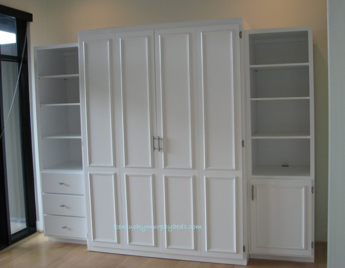 white painted maple queen Murphy bed bifold doors two accessory cabinets, installed in a condominium, space saver, headboard storage, false floor system 9-2017