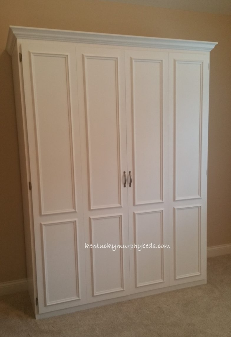 Queen murphy bed with surface trim bifold doors; MDF; November 2017; downsizing, lexington, kentucky