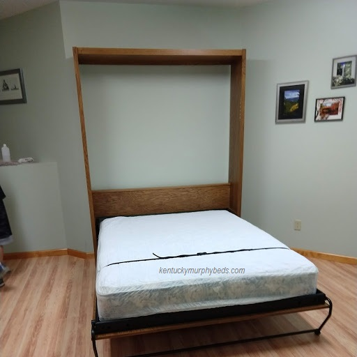 Oak queen panel door Murphy bed - open view