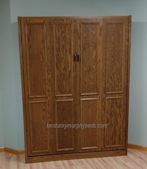 Oak queen panel door Murphy bed with surface trim - closed view