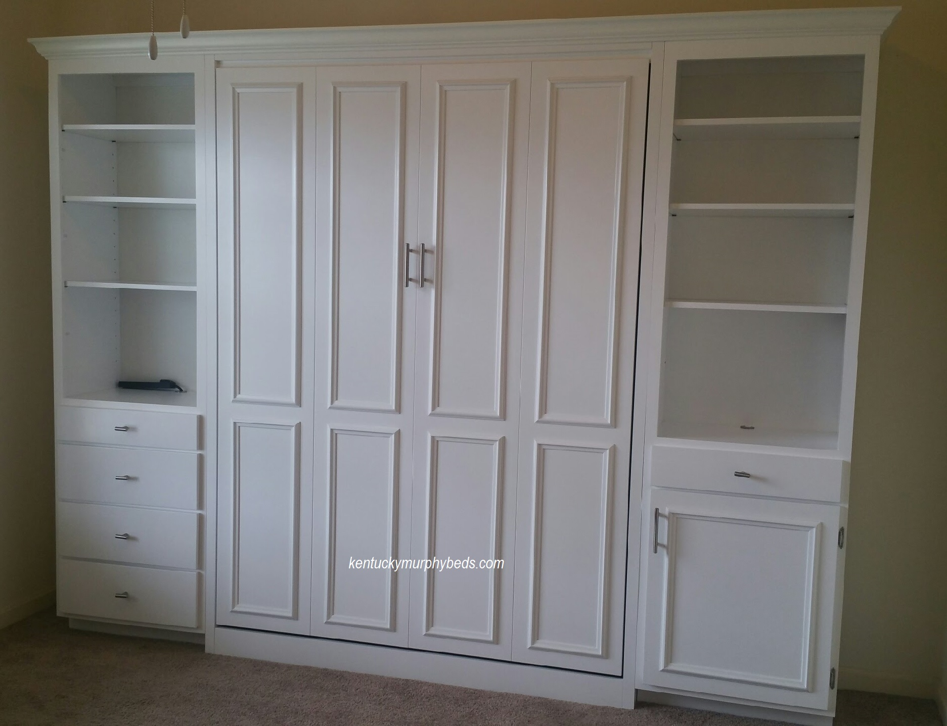 queen murphy bed with surface trim on panel and cupboard door