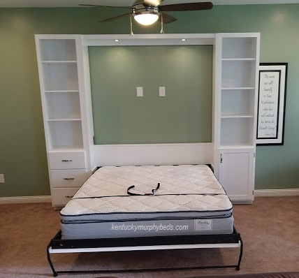 White queen Murphy bed with two accessory cabinets and LED dimmable lights - open view