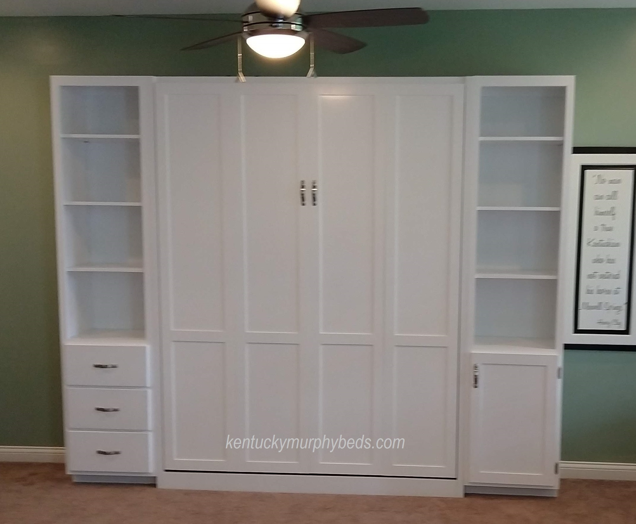 White queen panel door Murphy bed with shaker trim and two accessory cabinets and LED dimmable lights - closed view