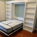 White painted panel style Murphy bed with bookcase doors and side accessory bookcases - coolest Murphy bed, custom design