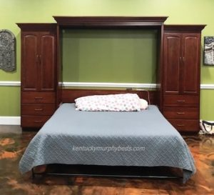 King size Murphy bed with panel door and two side cabinets.