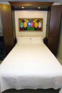 extra long full size bed to meet customer needs; oak murphy bed unit