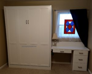 panel door Murphy bed cabinet and 20 inch deep desk
