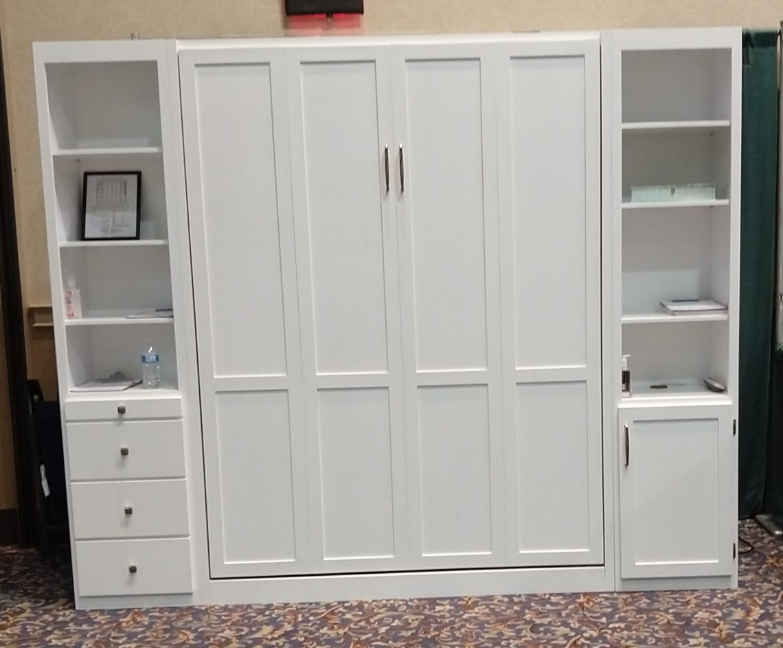queen murphy bed cabinet and book cases with 18 inch depth.