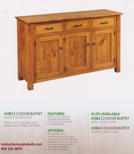 Aspen 3 door buffet, Amish made, custom wood and finish