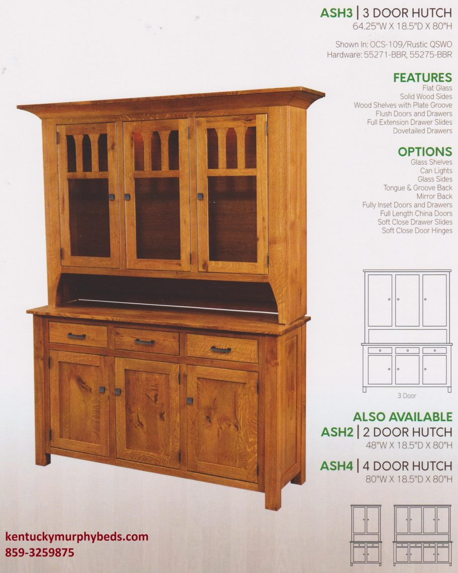 Aspen 3 door hutch, Amish made, custom wood and finish