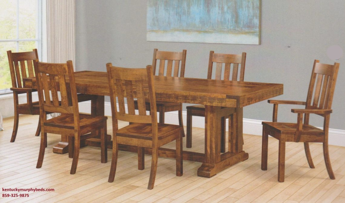 Saw-Marked Collection Table and Chairs - Auburn, Amish made