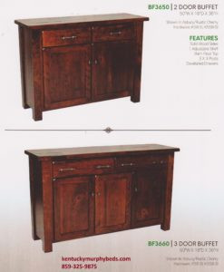 Barn floor buffet 1, Amish made, 2 and 3 door options, variety of wood and finishes