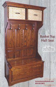 Amish crafted basket top hall seat, variety of wood and finishes