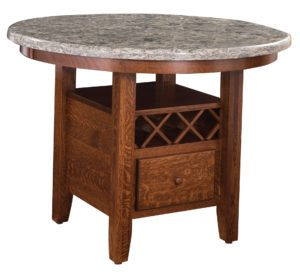 Cambria Wine Table, cambria pattern and wood options, Amish made