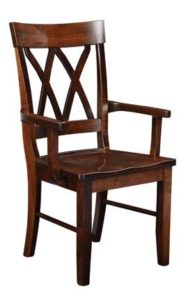 Double X-Back arm chair, Amish made, various wood and finishes