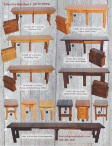 Extend a bench, Amish made, variety of finishes