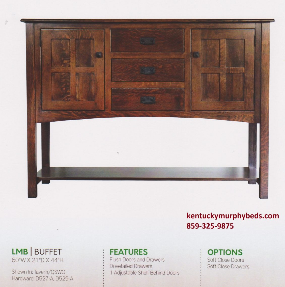 Larson Mission Buffet, Amish made, variety of woods and finishes