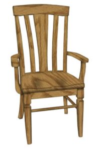 Lexington arm chair, Amish made, various wood and finishes